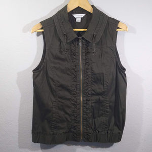 Christopher & Banks Olive Green Full Zip Vest